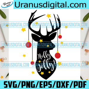 Holly Jolly, Christmas Svg, Reindeer Svg, Reindeer Shirt, Reindeer Gift, Love Reindeer, Christmas Reindeer, Christmas Gift Box, Christmas Bell Svg, Christmas Gift, Claus Svg, Love Claus, Noel Svg, Christmas Icon
