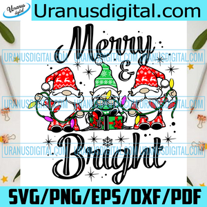 Merry And Bright Svg, Christmas Svg, Christmas 2020, Merry Christmas, Xmas Svg, Christmas Gnomes, Gnome Svg, Christmas Gnomy Svg, Gnomy Svg, Gnomies, Christmas Gnome, Bright Christmas