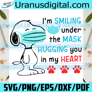 Snoopy Im Smiling Under The Mask Svg, Christmas Svg, Merry Christmas, Xmas Svg, Christmas 2020, Quarantine Christmas, Hugging You In My Heart, Snoopy Wearing Mask, Christmas Snoopy, Snoopy