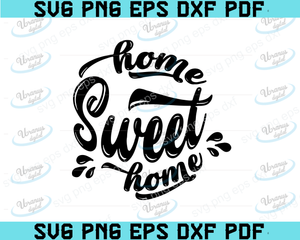 Home Sweet Home, SVG Cut File, digital file, svg, family, home svg, sign svg, happy svg, for cricut, for silhouette, handlettered svg, dxf