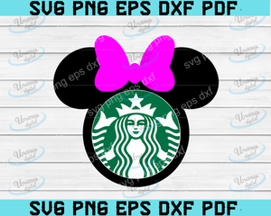 Minnie Mouse Starbucks SVG / Minnie Mouse SVG / Disney Cutfiles / Disney DXF / clipart, Digital Cut File For Silhouette and Cricut, Png