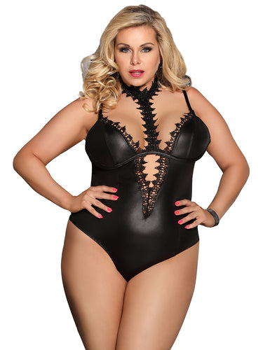 ARIES BLACK LEATHER TEDDY PLUS SIZE