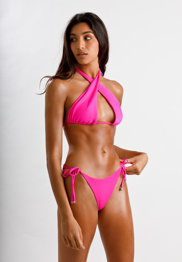 Fuchsia Fantasy Ribbed Bikini Top - Cassea Swim