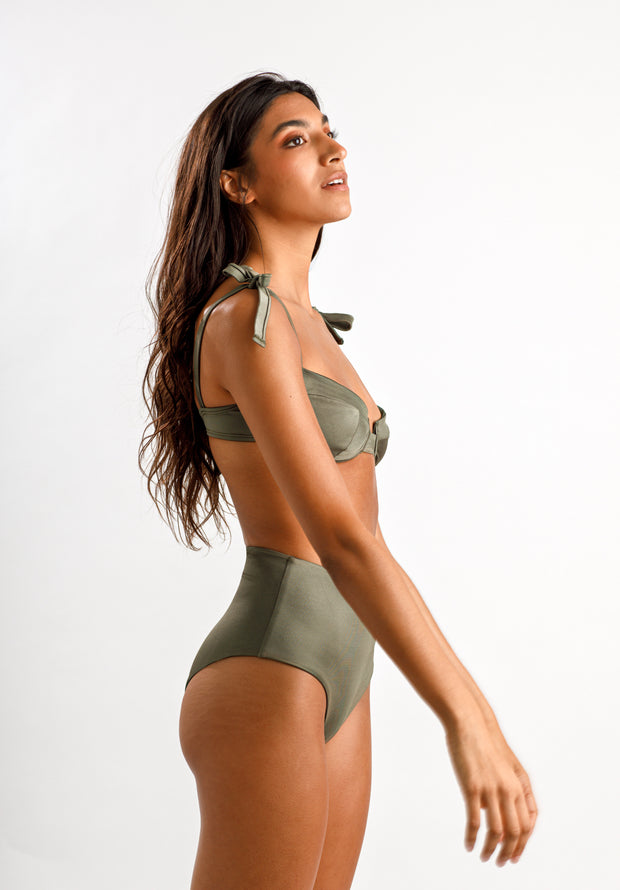 Olive You Satin Top - Cassea Swim