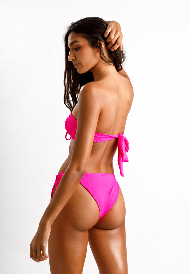 Fuchsia Fantasy Ribbed Bikini Bottoms - Cassea Swim