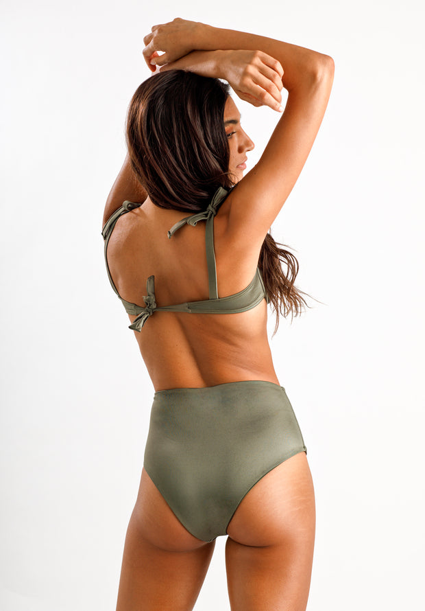 Olive You High Waisted Bottoms - Cassea Swim