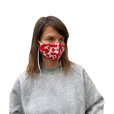 Cotton Reusable Mask with Canada Flag Print - JC Masks