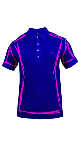 "Polo homme ""L'Intemporel"" bleu et rose"
