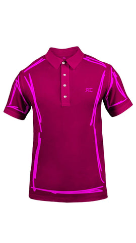 "Polo homme ""L'Intemporel"" magenta et rose"
