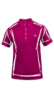 "Polo homme ""L'Intemporel"" fuchsia et blanc"