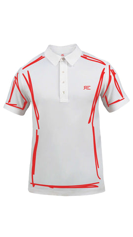 "Polo homme ""L'Intemporel"" blanc et rouge"