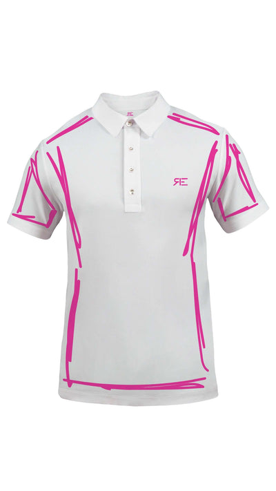 "Polo homme ""L'Intemporel"" blanc et fuchsia"