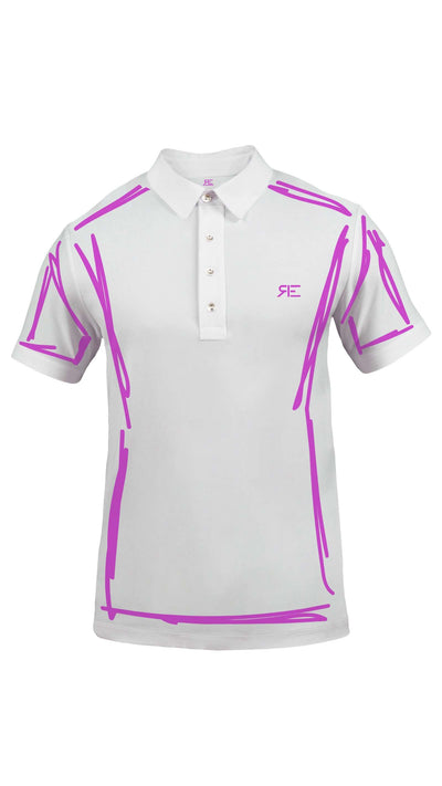 "Polo homme ""L'Intemporel"" blanc et violet"