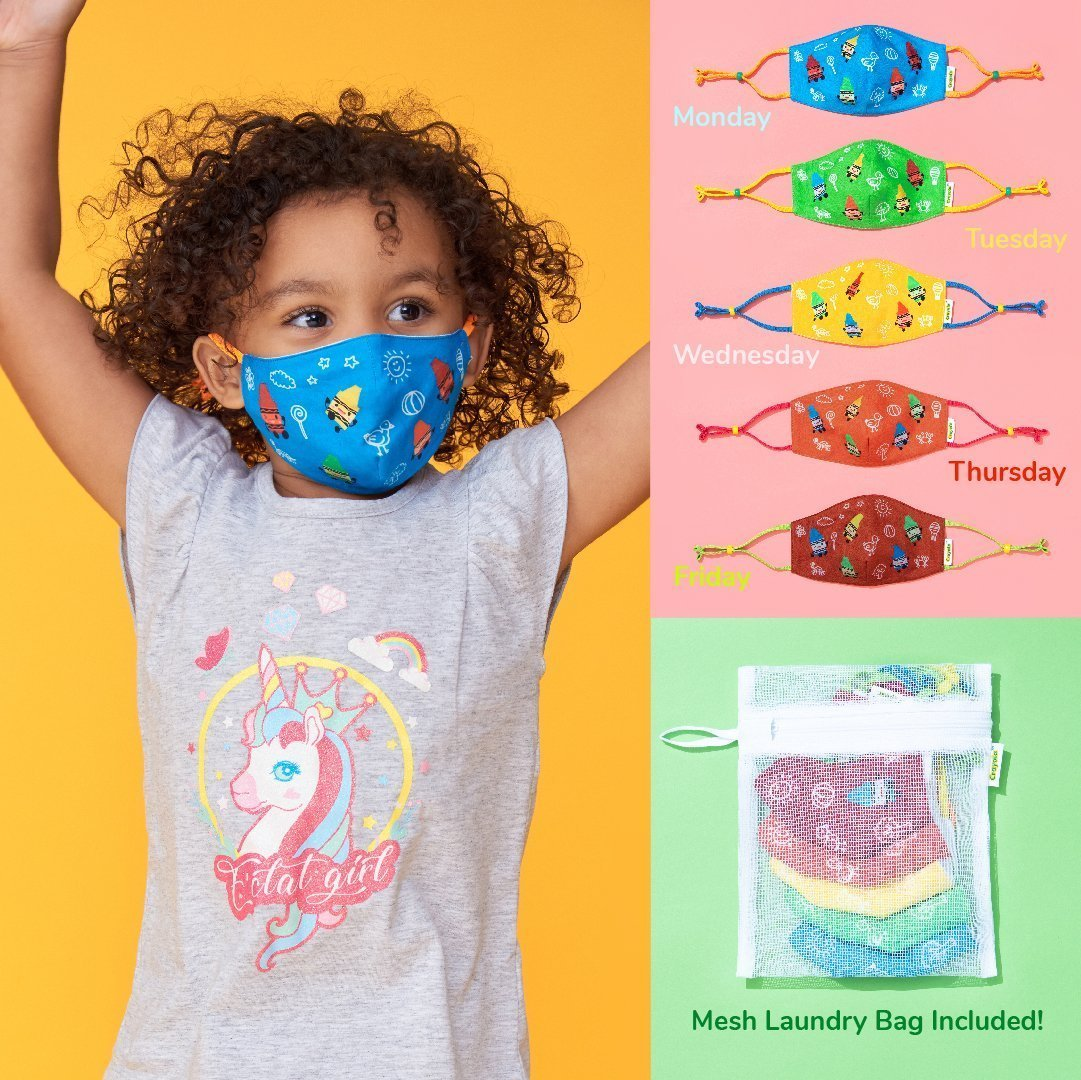 Kids Reusable Cloth Face Mask Set, Crayon Characters, Back to School Supplies