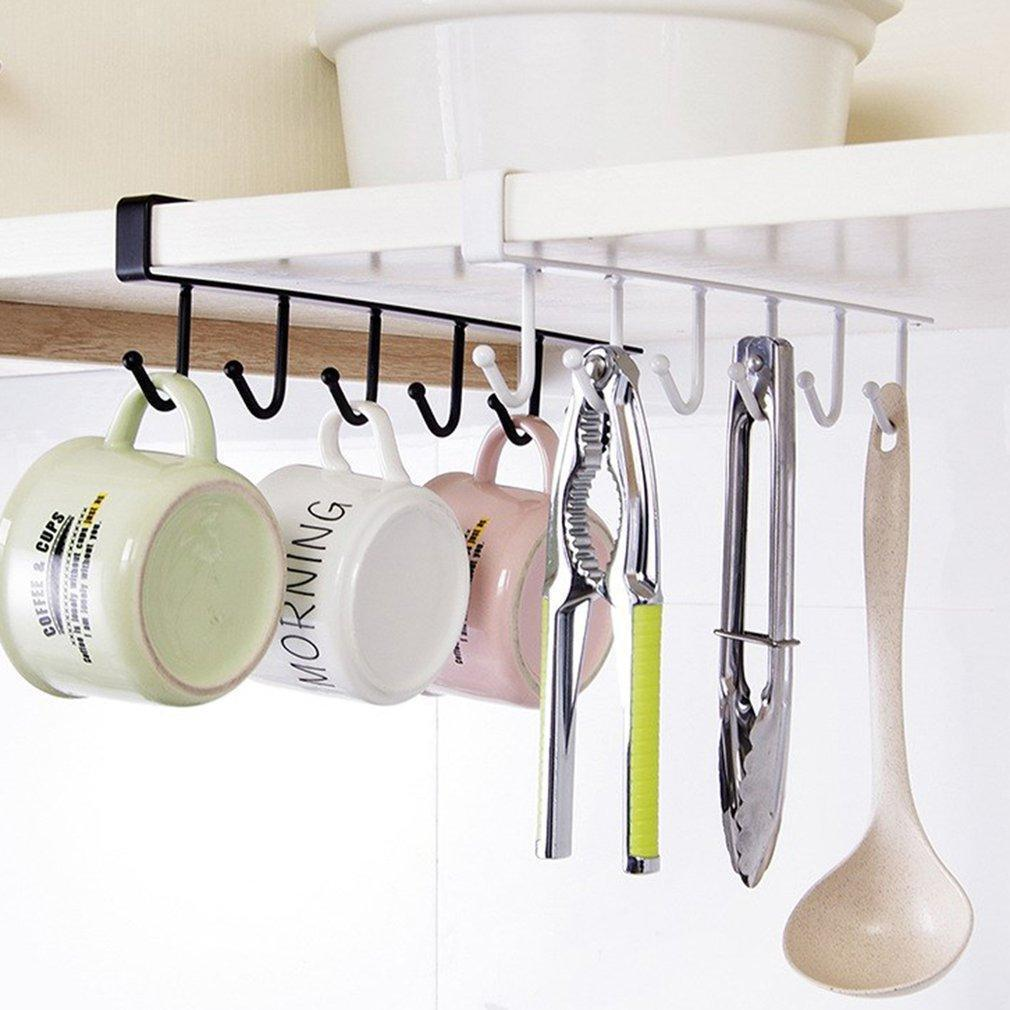 6 Hooks Iron Kitchen Bathroom Organizer Shelf Cupboard Hanging Hook Shelves