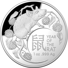 Load image into Gallery viewer, Lunar Year of the Rat 2020 $5 Fine Silver Proof Domed Coin
