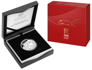 Lunar Year of the Rat 2020 $5 Fine Silver Proof Domed Coin