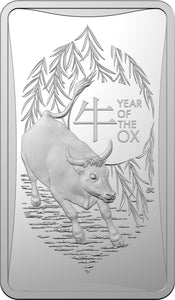 Lunar Year of the Ox 2021 $1 1/2oz Fine Silver Uncirculated Ingot