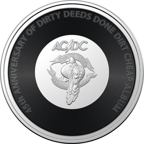 AC/DC - Dirty Deeds Done Dirt Cheap 2021 20c Coloured Uncirculated Coin