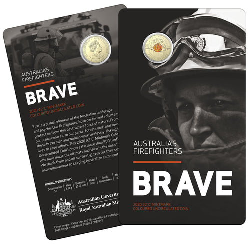 Brave - Australia's Firefighters 2020 $2 'C' Mintmark Coloured Uncirculated Coin