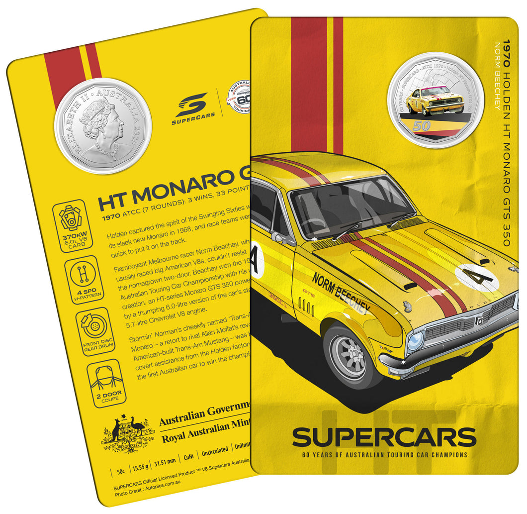 60 Years of Supercars 1970 Holden HT Monaro GTS 350 2020 50c Coloured Uncirculated Coin