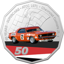 Load image into Gallery viewer, 60 Years of Supercars 1971 Chevrolet Camaro ZL1 2020 50c Coloured Uncirculated Coin
