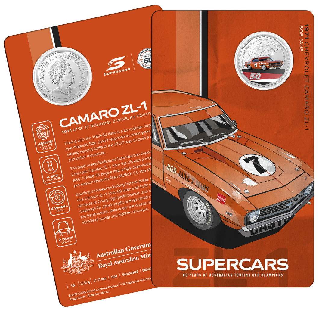 60 Years of Supercars 1971 Chevrolet Camaro ZL1 2020 50c Coloured Uncirculated Coin