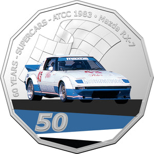60 Years of Supercars 1983 Mazda RX7 2020 50c Coloured Uncirculated Coin