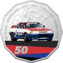 Load image into Gallery viewer, 60 Years of Supercars 1991 Nissan R32 Skyline GTR 2020 50c Coloured Uncirculated Coin