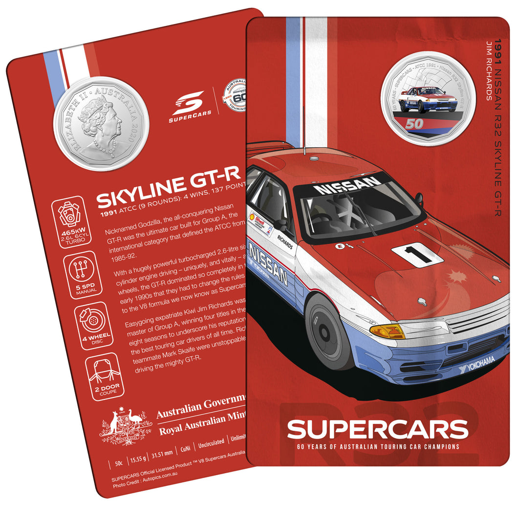 60 Years of Supercars 1991 Nissan R32 Skyline GTR 2020 50c Coloured Uncirculated Coin