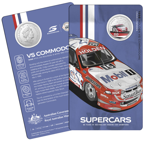 60 Years of Supercars 1998 Holden VS Commodore 2020 50c Coloured Uncirculated Coin