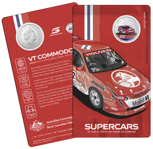 60 Years of Supercars 2000 Holden VT Commodore 2020 50c Coloured Uncirculated Coin