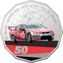Load image into Gallery viewer, 60 Years of Supercars 2008 Ford BF Falcon 2020 50c Coloured Uncirculated Coin