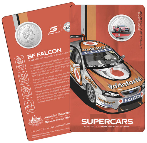60 Years of Supercars 2008 Ford BF Falcon 2020 50c Coloured Uncirculated Coin
