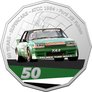 60 Years of Supercars 1984 Ford XE Falcon 2020 50c Coloured Uncirculated Coin