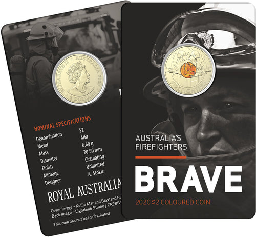 Brave - Australia's Firefighters Card 2020 $2 Coloured Circulated Coin
