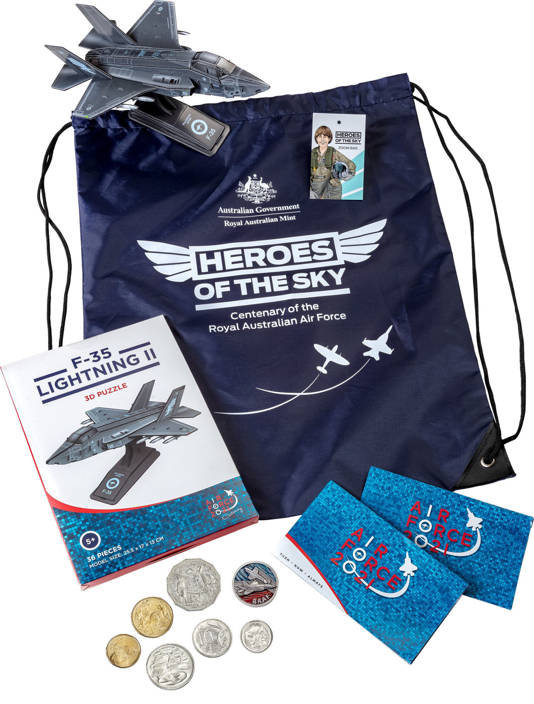 Royal Australian Air Force Zoom Bag 2021 Six Circulating Coins and Token