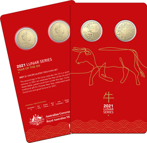 Lunar Year of the Ox 2021 $1 Uncirculated 2 Coin Set