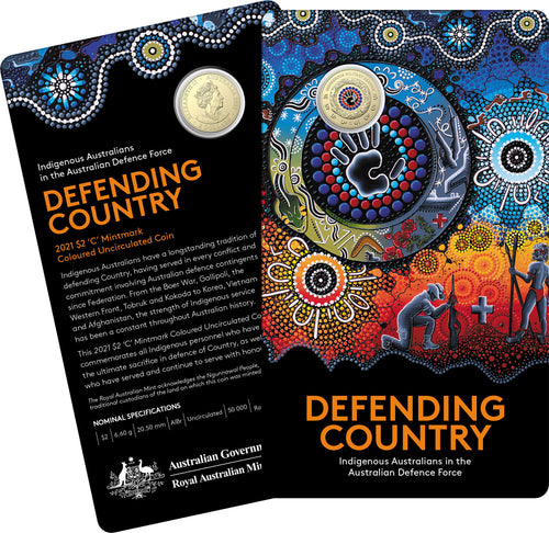 Defending Country-Indigenous Military Service 2021 $2 'C' Mintmark Coloured Uncirculated Coin