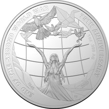Load image into Gallery viewer, 75th Anniversary of the End of World War II $5 Silver Proof Coin