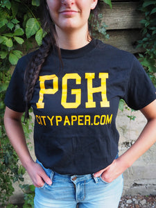 "Black & Yellow ""PGHCITYPAPER.COM"" Unisex T-Shirt"