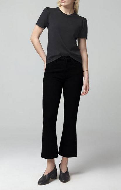 Citizens of Humanity Demy Cropped Flare Jeans in Black