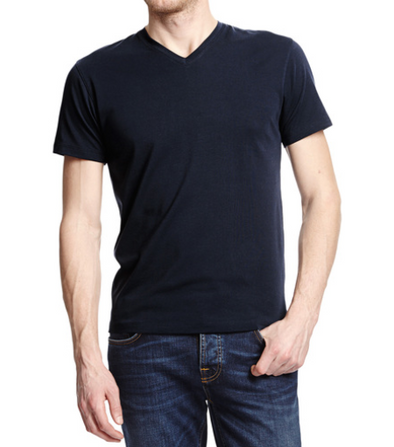 Patick Assaraf Pima Cotton Stretch V Neck in Navy
