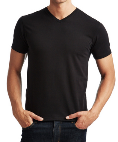 Patrick Assaraff Pima Cotton Stretch V Neck in Black