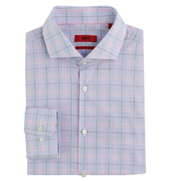 Hugo Boss Meli Dress Shirt in Pink Plaid