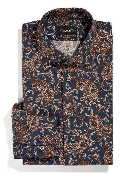 Sand Copenhagen State N Dress Shirt in Blue Paisley