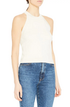 Theory Ribbed Halter Neck Silk & Cashmere Top in Ivory
