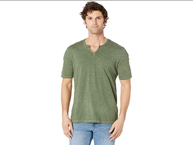 Mod-o-doc Topanga Notch V-neck Tee in Olive Bamboo
