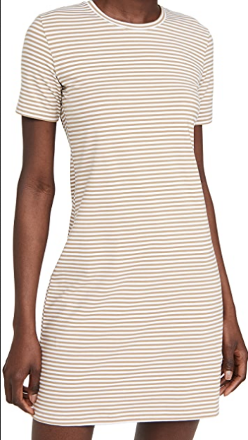 Theory Crew T-Shirt Dress in Sandalwood White