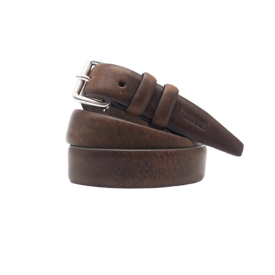 Closed Casual Leather Belt in Dark Olive